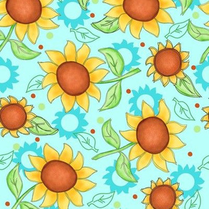 Sunflower Turquoise Scattered Toss medium
