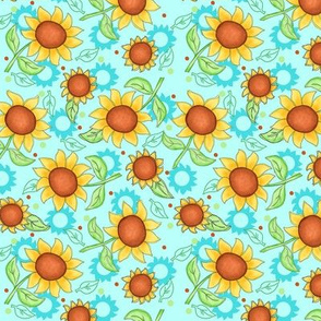Sunflower Turquoise Scattered Toss sm
