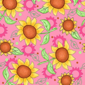 Sunflower Pink Scattered Toss Medium