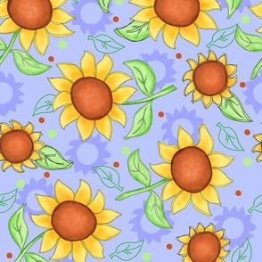Sunflower Lavender Scattered Toss Medium
