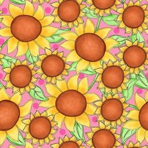 Sunflower packed Pink Medium