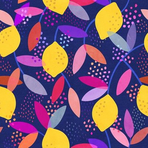 Lemon Pattern on Dark Blue Background