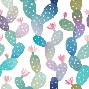 Cacti Pattern on White Background