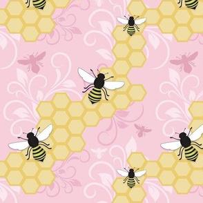 Pink Honeycomb Bee Pattern