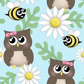 Spring Owl Bee Daisy Pattern - large print