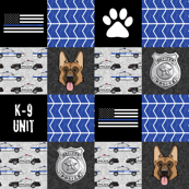 """(3"""" small scale) K-9 unit Police Patchwork - German shephard- thin blue line - back the blue wholecloth C20BS"""
