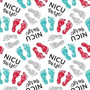 NICU nurse - multi baby feet - red/teal/grey - nursing - LAD20