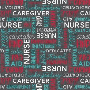all things nurse - patchwork coordinate - teal and red on grey - LAD20