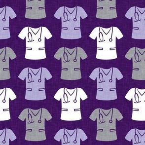 scrubs - nursing/nurse - purple/grey on dark purple - LAD20