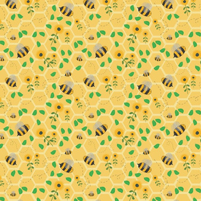 Bees, honeycombe and sunflowers