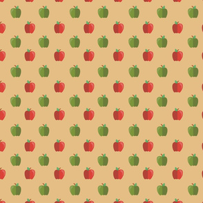 Green and Red Apples on Light Background