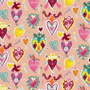 valentine hearts peach