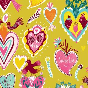 valentine hearts yellow-green