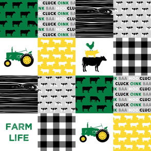 farm life - wholecloth green, custom yellow, and black (black & Holstein  cows) - woodgrain C19BS