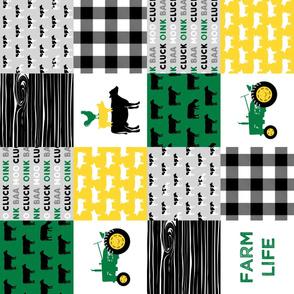 farm life - wholecloth green, custom yellow, and black (black & Holstein  cows) - woodgrain (90) C20BS