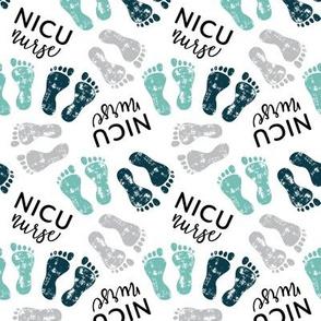 NICU nurse - multi baby feet - teal/grey - nursing - LAD20