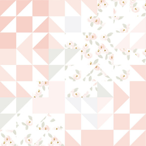 pink rosette puzzle wholecloth v.2