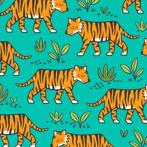 Jungle Tiger on Dark Mint Green