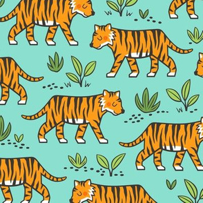 Jungle Tiger on Mint Green