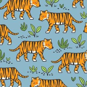 Jungle Tiger on Light Navy Blue