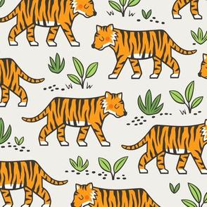 Jungle Tiger on Cloud Grey
