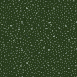 Snowflake Ditsy on Forest Green