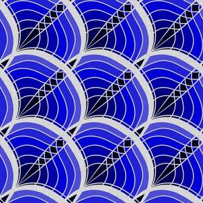 Silver Foil Art Deco Slanted Wave Deep Blue Tile