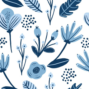 Blue Flower Floral Pattern