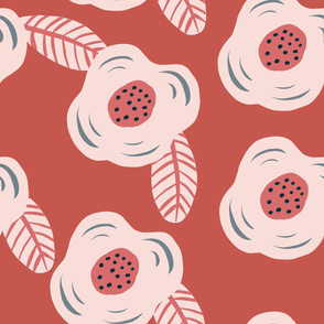 Pink stylized abstract flowers floral