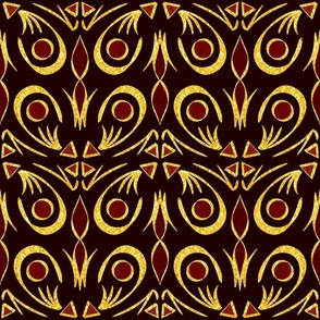 Gold Foil Art Deco Fleur in Wine Tile