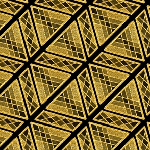 Gold Foil Art Deco Sophisticated Angles in Gold Tile