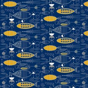 Mid-century Fish Art Navy