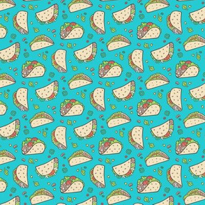 Tacos Food on Blue Tiny Small 1 inch