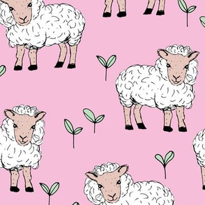 Little sheep in the fields farm animals sweet dreams good night pink mint girls