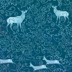Figure reindeer with silver patterns and curls patterns on a gray background.Seamless pattern with running deers, scandy style.