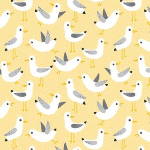 seagulls on yellow - small