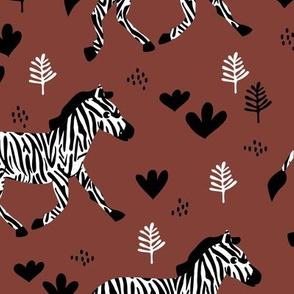 Zebra magic forest Scandinavian style kids animal design stone red maroon