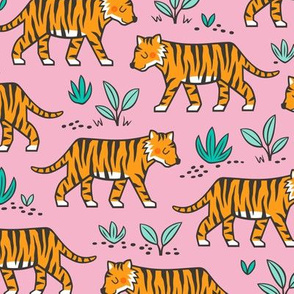 Jungle Tiger on with Mint Leaves on Pink
