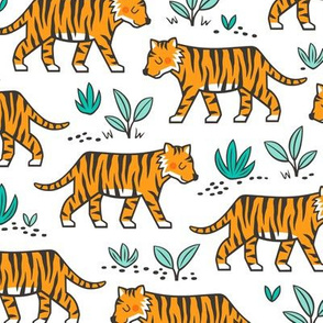 Jungle Tiger on with Mint Leaves on White