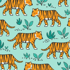 Jungle Tiger on Light Mint Green