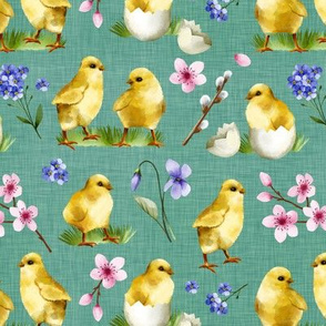 Watercolor Chicks Aqua Linen Texture Background Cute Sweet Spring Easter Chicks Cherry Blossom Children Kids Print