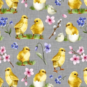 Watercolor Chicks Grey Linen Texture Background Cute Sweet Spring Easter Chicks Cherry Blossom Children Kids Print