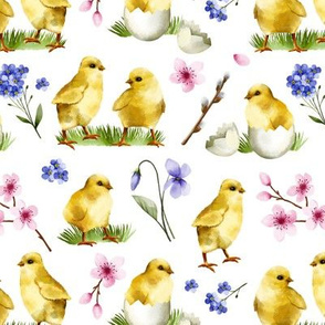 Watercolor Chicks White Background Cute Sweet Spring Easter Chicks Cherry Blossom Children Kids Print
