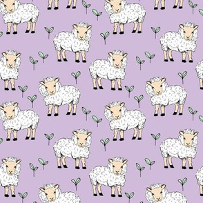 Little sheep in the fields farm animals sweet dreams good night lilac lavender mint girls SMALL