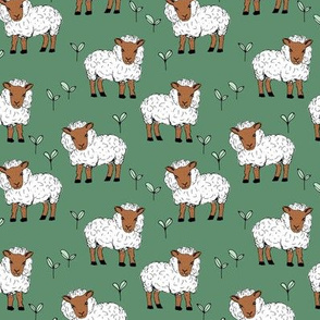 Little sheep in the fields farm animals sweet dreams good night green rust neutral winter SMALL