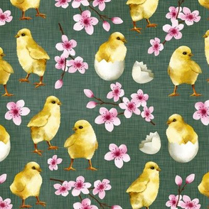 Watercolor Chicks Olive Green Linen Texture Background Cute Sweet Spring Easter Chicks Cherry Blossom Children Kids Print