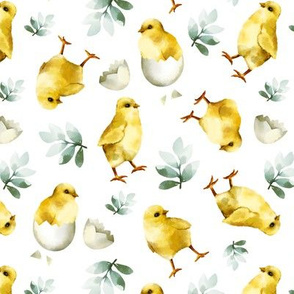 Watercolor Chicks White Background Cute Sweet Spring Easter Chicks Children Gender Neutral Kids Print