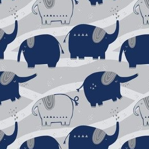 Elephant March in Blue and Gray