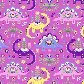 Folk Art Dinosaurs - Pink & Purple Dark (small scale)