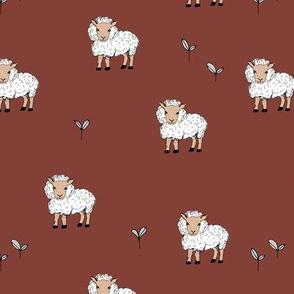 Little sheep in the fields grass farm animals sweet dreams nursery stone red maroon neutral